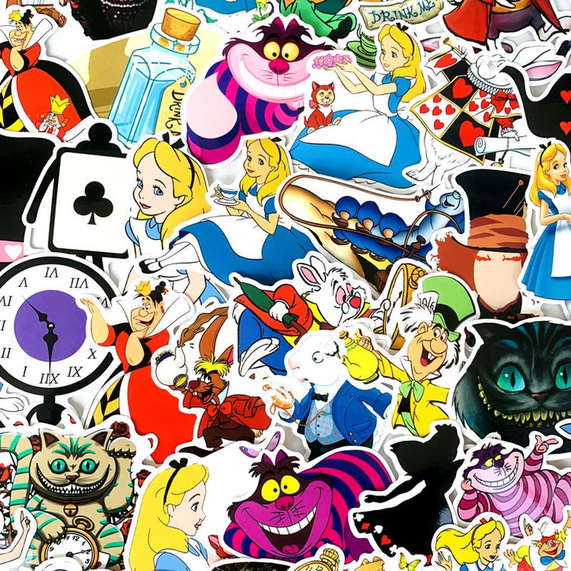 70pcs VSCO Girl Alice In Wonderland Cute Movie Stickers Decal For Guitar Laptop Luggage Fridge  Sticker Scrapbooking