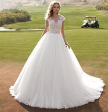 Белое винтажное свадебное платье Кружевная аппликация дешевые