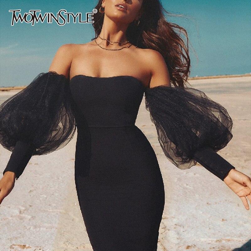 TWOTWINSTYLE Elegant Black Dress For Women Slash Neck Mesh Puff Sleeve Off Shoulder Perspective Dresses Female 2020 Summer New