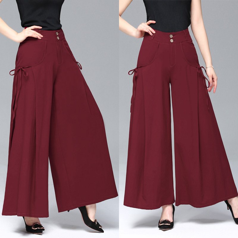 2018 New Style Summer Drape Loose Pants WOMEN'S Ninth Pants High-waisted Slimming Women's Rejection Pants Large Size Wide-Leg Cu