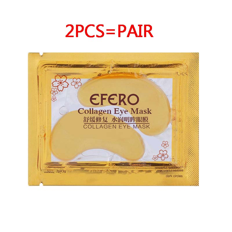2Pcs=1Pair 24K Gold Crystal Collagen Eye Mask Eye Patches For Eye Care Dark Circles Remove Anti-Aging Wrinkle Skin Care TSLM1