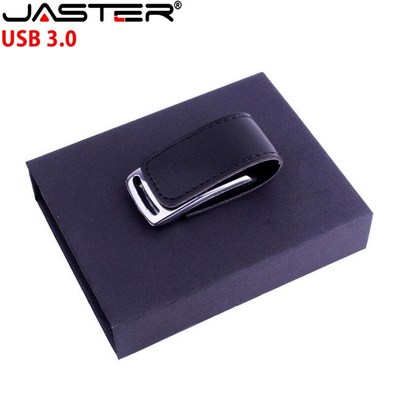 JASTER USB 3.0 Cusotmer LOGO Metal Keychain Leather USB + Box Usb Flash Drive Pendrive 4GB 8GB 16GB 32GB 64GB Memory Stick