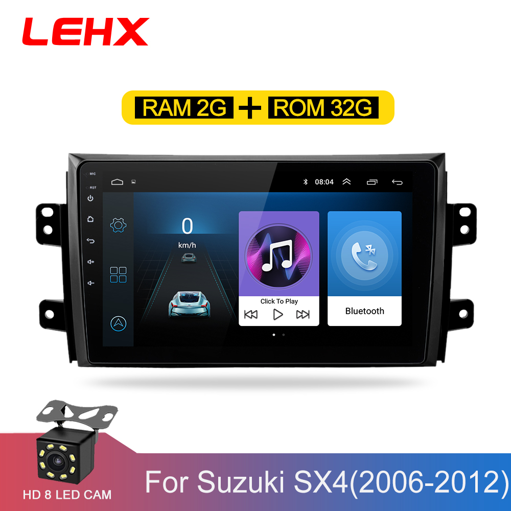 LEHX 2.5D IPS Screen Car Radio Player For <font><b>Suzuki</b></font> <font><b>SX4</b></font> 2006 2007 2008 -2011 <font><b>2012</b></font> 2Din Android 8.1 Multimedia GPS Navigation Player image