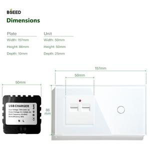 Image 4 - Bseed האיחוד האירופי מגע 1 כנופיית 1 דרך 2 דרך קיר מגע מתג עם שני USB שקע שחור לבן זהב צבע עם קריסטל לוח