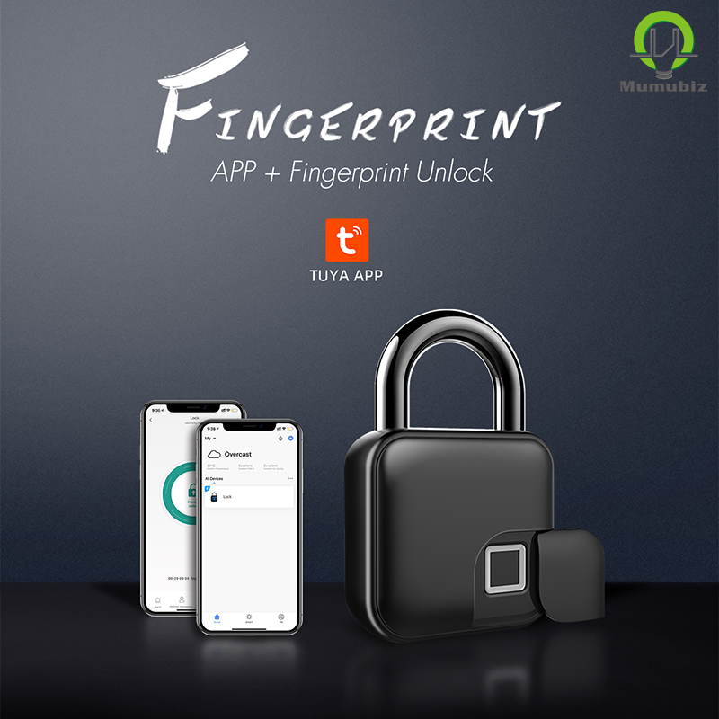 Tuya Smart Bluetooth Biometric Fingerprint Padlocks ,USB Rechargeable, Mumubiz Security Lock, Sharing Control to Family