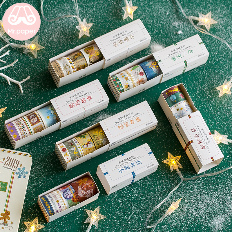 Mr Paper 5pcs/box Merry Christmas Angel Gingerbread Man Gold Stamping Deco Washi Tapes Warm Christmas Party Masking Paper Tapes