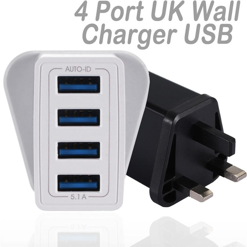 EPULA Universal UK Plug 5.1A 4 Em 1 USB Viagem Carregador de Parede Adaptador USB Carregador Adaptador de Telefone Móvel Esperto 4 para O Iphone Samsung