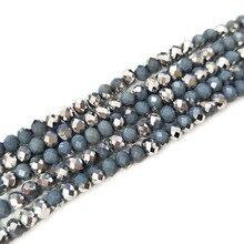 STENYA 6 мм 95 шт. хрустальные бусины Rondelle граненые серое серебряное покрытие цвет серьги бант узел обруч для волос, браслет ювелирные изделия