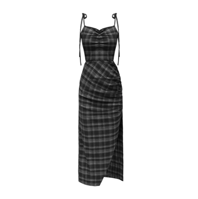 Женское вечернее платье Ruibbit, черное клетчатое платье в готическом стиле с глубоким v-образным вырезом, элегантное Клубное платье с высокой ...