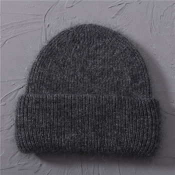 Casual Women's Hats Cashmere Wool Knitted Beanies Autumn Winter Brand New Three Fold Thick 2020 Knitted Girls Skullies Beanies 8