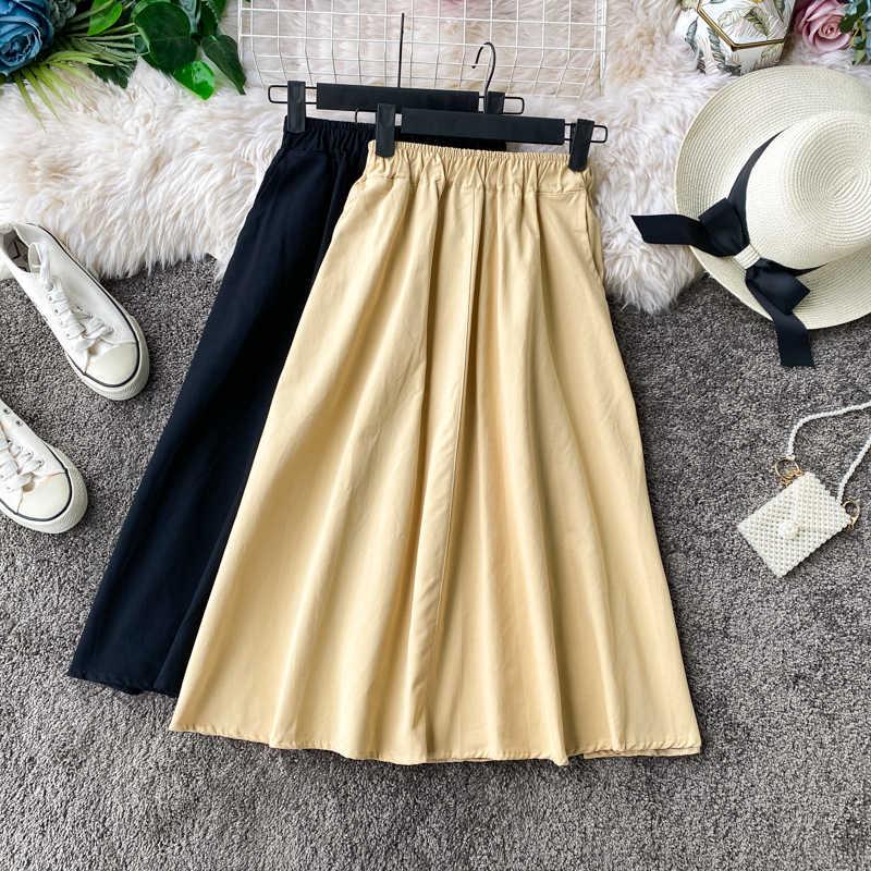 Moda coreano saia feminina 2020 feminino verde swing saia selvagem cintura elástica pequena linha de cintura alta saia das mulheres midi saias