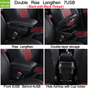 Image 4 - for Renault Captur 2 2018 armrest box central Store content box with cup holder ashtray Can rise with USB accessory