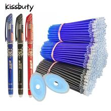 55 pçs/lote 0.5mm borracha gel caneta borracha recarga haste apagável caneta lavável lidar com papelaria escrita escola azul/preto tinta caneta