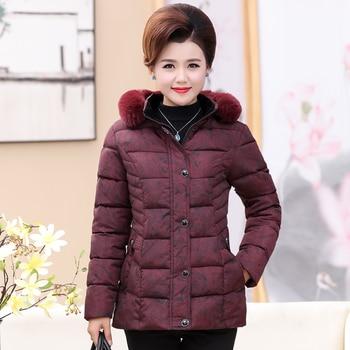 Chaquetas invierno mujer madre invierno abrigo algodón color sólido ropa delgada abajo algodón acolchado mujer de mediana edad abrigo de invierno