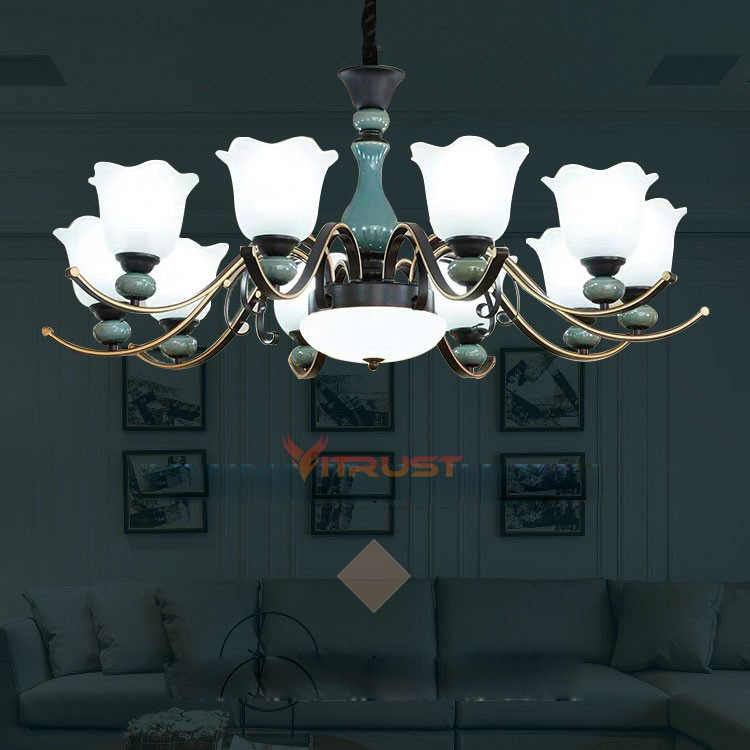 Vintage Glass Ceramic Led Chandeliers luxury ceramic chandelier Retro Iron Glass Lampshade Hanging Lamp for bedroom dining room