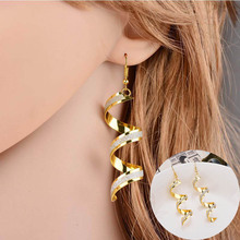 New Fashion Earings Women Large Long Earring Wave Frosted Spiral Dangle Bride Accessories Hanging