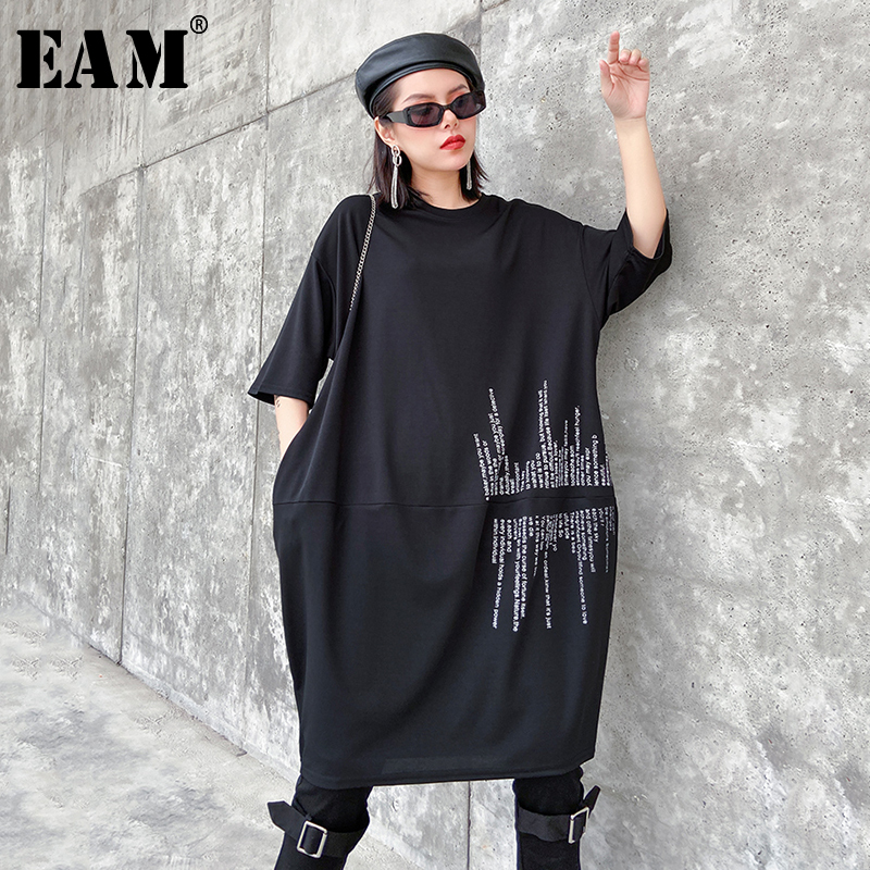 [EAM] Women Black Letter Printed Big Size Dress New Round Neck Three-quarter Sleeve Loose Fit Fashion Spring Autumn 2020 1R672