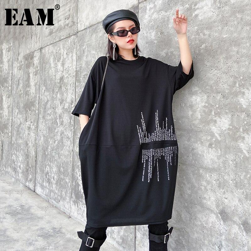 [EAM] Women Black Letter Printed Big Size Dress New Round Neck Three-quarter Sleeve Loose Fit Fashion Spring Autumn 2020 1R672