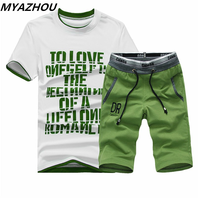 New Men's Short-sleeved T-shirt Suit Personality Letter Printing Summer Casual Sportswear Brand Clothing T-shirt Shorts 2 Sets