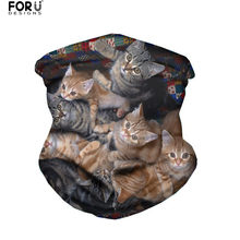 FORUDESIGNS Magic Headband Scarf Outdoor Headwear Headwrap Tube Scarves Cute Animal Cat Pattern Unisex Anti-spittle Face Cover(China)