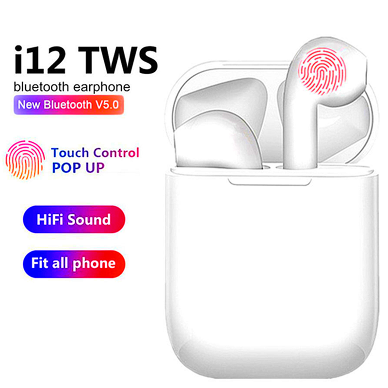 2020 New I12 TWS Wireless Headset Bluetooth 5.0 Touch Sport Earphones Stereo HiFi Sound