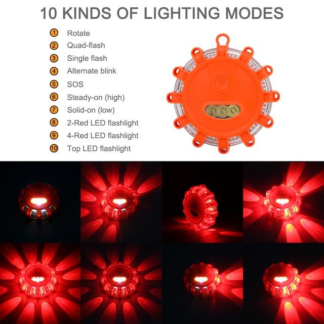 LED awaryjne lampy samochodowe Flare migające ostrzeżenie lampki nocne przydrożny dysk Beacon czerwony żółty policja droga podstawa magnetyczna światło