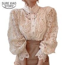 Wiosna Hollow Out koronkowa koszula kobiety Blusas Mujer De Moda 2021 urząd Lady kwiat bluzka stanąć kołnierz przycisk odzież damska 12419