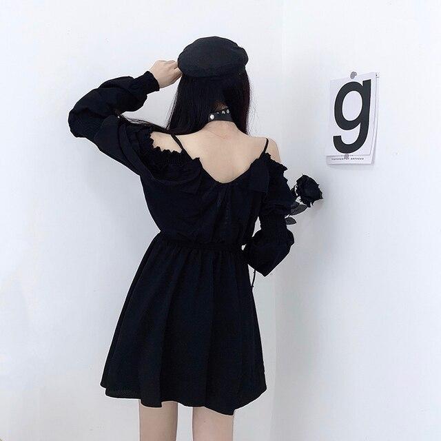 Women dress demon girl original black spring and autumn 2021 sexy high waist femme dress shoulder long sleeve gothic dress A085 2