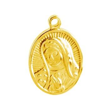100% de acero inoxidable, colgante de Medalla de la Virgen María en Color dorado para mujer, medallones de cruz, medallones religiosos, 20 piezas al por mayor