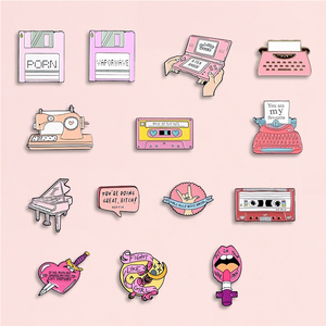 Pink Collection Enamel Pins Cartoon Recorder Typewriter Piano Lipstick Brooches Denim Shirt Backpack Gift For Friends Kids Women