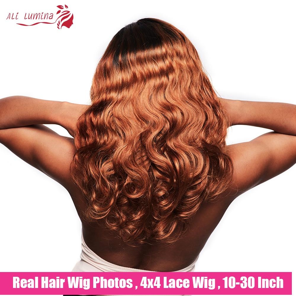 Body Wave Lace Wigs 4x4 Closure Colored  Wigs  Ombre Blonde Orange  Lace Closure Wigs 3