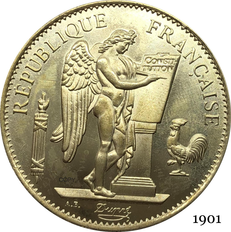 Французская третья Республика франчеса 1901 а 100 франков освобожденные эгалитовые золотые монеты латунные металлические копировальные моне...