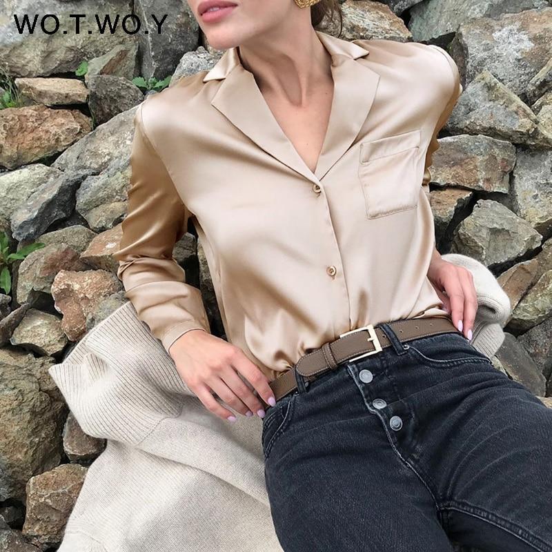 WOTWOY Elegant Long Sleeve Silk   Blouses   Women Summer White   Blouse     Shirt   Female Blusa Feminina Tops Haut Femme Kimono 2020 New