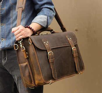 "Men Vintage crazy horse leather briefcase 16\"" PC genuine leather laptop rucksack Real leather business bag Big Travel Backpack"