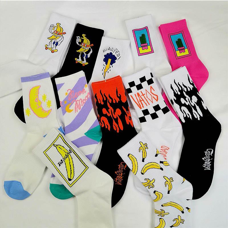 Korean style fashion fun hip hop skateboard socks street style cartoon banana cactus moon flame socks unisex happy long socks