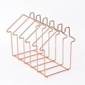 Image 5 - Magazine Holder Rose Gold House Shape File Sorter Metal 5 Slot Desk Organizer Rack for Document Folder Letter and Book