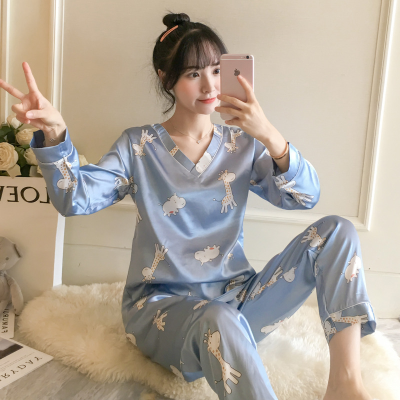 Pajamas Female Summer Thin Two-Piece Set Spring And Autumn Cute Pullover V-neck Giraffe Loose-Fit Model Silk Home Wear