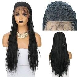 RONGDUOYI Lange Schwarz Geflochtene Box Zöpfe Spitze Vorne Perücken für Frauen Hohe Temperatur Faser 13x6 Spitze Synthetische Perücke mit Baby Haar