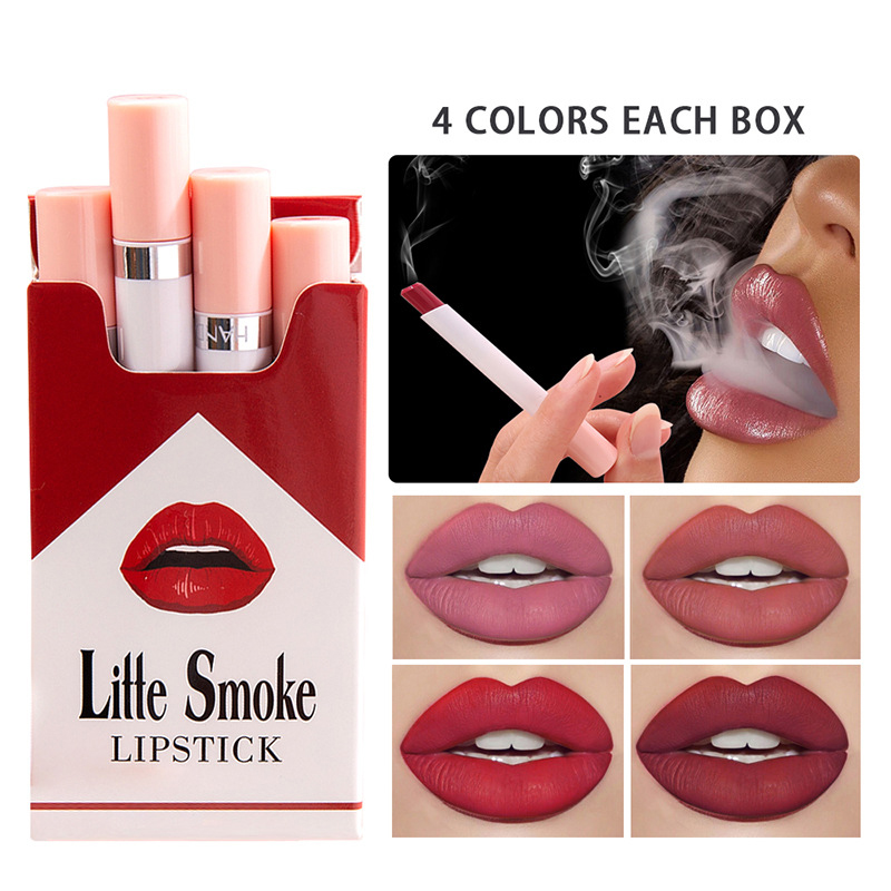 HANDAIYAN 4pcs Colorful Cigarette Lipstick Set Long-lasting Waterproof Matte Lipstick Tubes Red Sexy Lips Beauty Cosmetics TSLM1(China)