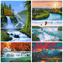Scenery DIY Number Painting By Intent Oil Hand Painted Landscape Decorative Picture For Wall Modern Home Decoration Art Frescoes