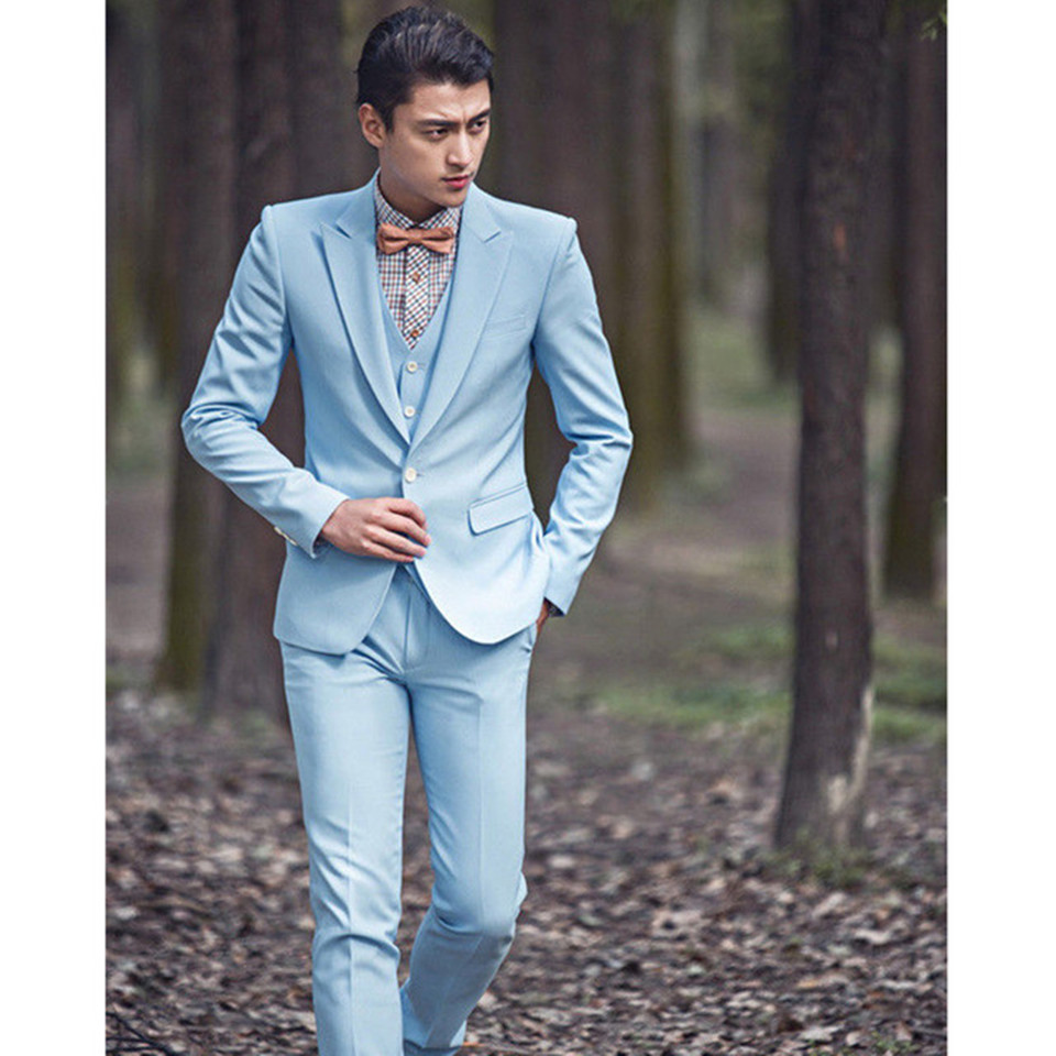 New Classic Men's Suit Smolking Noivo Terno Slim Fit Easculino Evening Suits For Men Wedding Groom Light Blue Casual Formal Tuxe