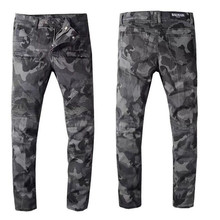 free delivery 2020 New Men's camouflage printed biker jeans