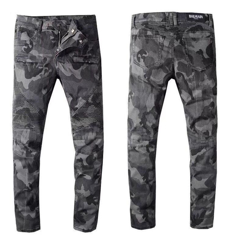 Free Delivery 2020 New Men's Camouflage Printed Biker Jeans For Motorcycle Military Pleated Slim Stretch Denim Pants