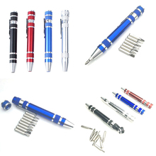цена на Screwdriver Hand Tools Mini Portable Aluminum Tool Pen Multi-function Pocket Eight-in-one Screwdriver with Magnetic Bits