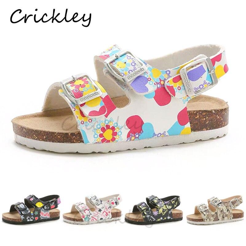 Summer Kids Sandals Cartoon PU Printing Leather Flat Heels Boys Cork Sandals For Girl Kids Toddler Buckle Strap Beach Slipper