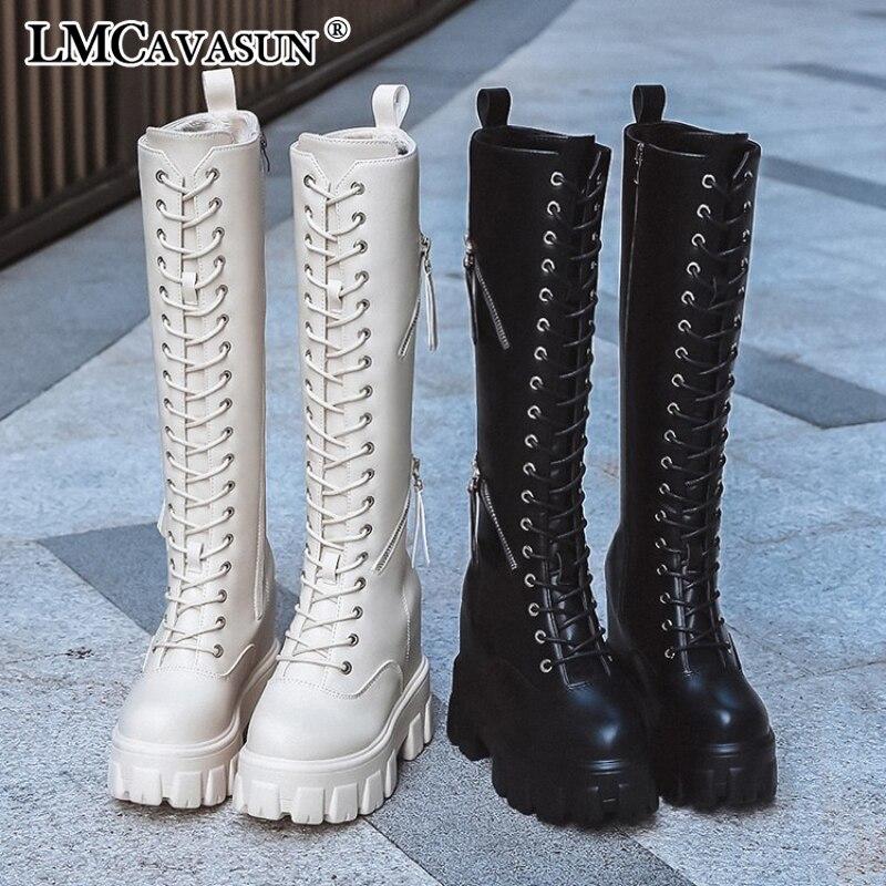 LMCAVASUN/ботинки на плоской платформе женская обувь пикантные женские сапоги из искусственной кожи; сезон осень-зима