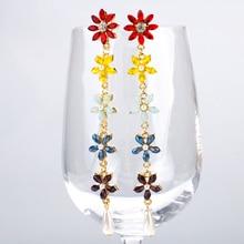 SENSOA Colorful Crystal Flower Pearl Drop Earrings For Women Luxury Rhinestone 5 Long Fashion Party Jewelry