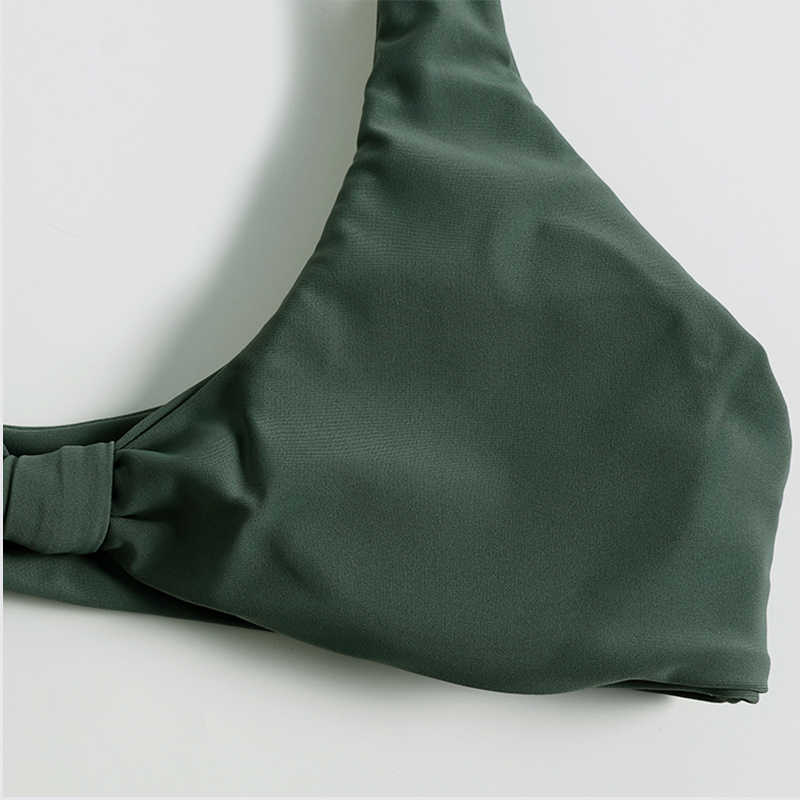 Groene Thong Bikini Set Vrouwen Badmode Padded 2 Stuk Badpak Plus Size Braziliaanse Sport Wear Voor Vrouwen Gym Uitsnede top