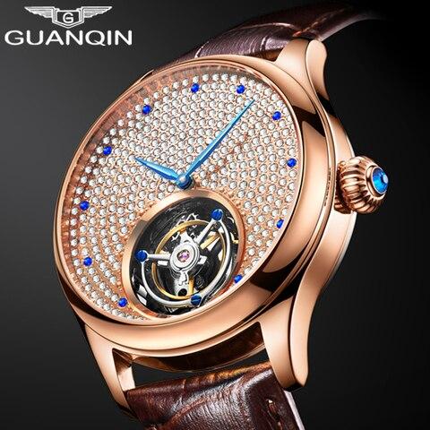 Mecânica dos Homens Relógios de Strass Guanqin Relógio Original Tourbillon Safira Masculino Marca Superior Luxo