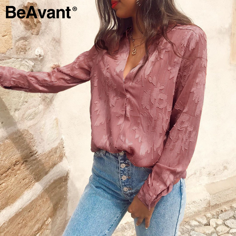 BeAvant Romantic Floral V Neck Women Blouse Shirts Pink Long Sleeve Fashion Tops Blouse Ladies 2020 Chic Spring Summer Blusa